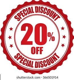 Special discount 20% off stamp.