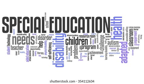 Special education needs - disability help word cloud.