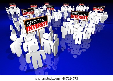 Special Interest Groups Signs People Lobbyists Politics Political Action Committees 3d Illustration