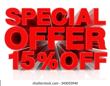 SPECIAL OFFER 15% OFF word on white background 3D rendering