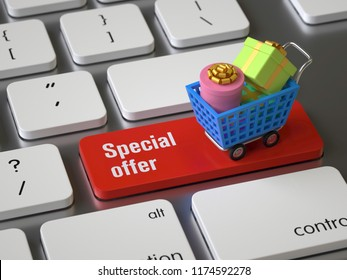 Special offer key on the keyboard, 3d rendering,conceptual image.