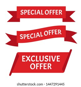 Special offer ribbon. Banner sale tag, promotion poster.