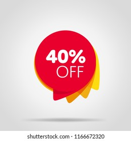 Special offer sale red tag isolated illustration. Discount offer price label, symbol for advertising campaign in retail, sale promo marketing, 40% off discount sticker, ad offer on shopping day