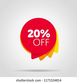 Special offer sale red tag isolated illustration. Discount offer price label, symbol for advertising campaign in retail, sale promo marketing, 20% off discount sticker, ad offer on shopping day