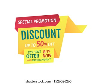 Special promotion discount up to half price. Exclusive offer buy now natural products assurance. Shop proposal super deal banner isolated on raster