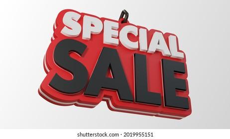 Special Sale Sign 3d Illustration on White Background. Concept for Black Friday Promotion