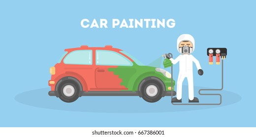 Specialist spray painting auto body at car. Flat style illustration.