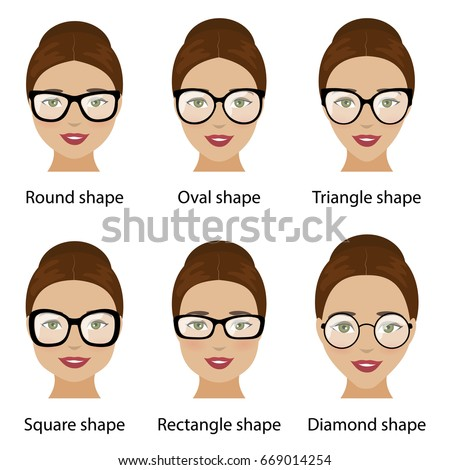 Spectacle Frames Shapes Different Types Women Stock Illustration ...