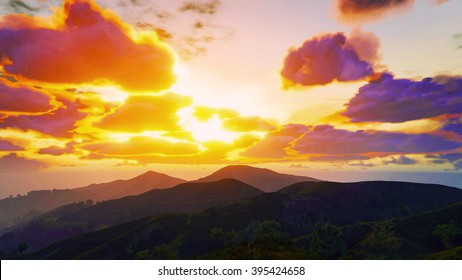 Spectacular mountains and sunset 3D illustration