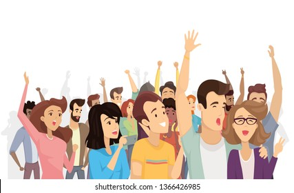 Spectators isolated on white raster illustration lot of cheerful people with rising hands and holding their mobile devices happy emotional crowd