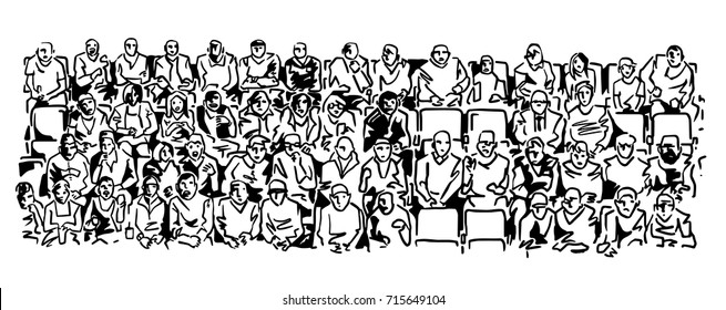 The spectators are sitting in the stands, a lot of people. Black and white sketch, simple drawing at white background.