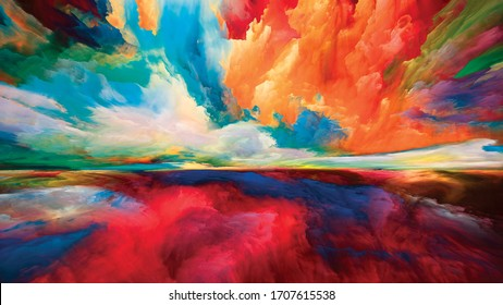 Nubes espectrales. Serie Escape to Reality. Arreglo de colores y texturas surrealistas del amanecer sobre el tema de la pintura paisajística, la imaginación, la creatividad y el arte