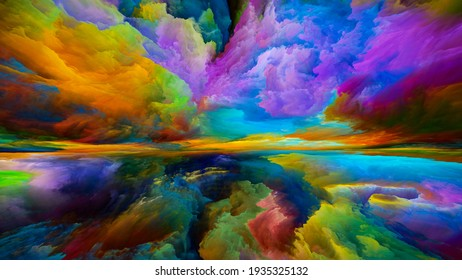 Spectral Mountains. Escape to Reality series. Image of surreal sunset sunrise colors and textures in conceptual relevance to landscape painting, imagination, creativity and art