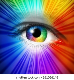 Spectrum Eye concept as a human iris and pupil with reflective multicolored star burst effect as a metaphor for fashion beauty and cosmetics or the power of creative vision.