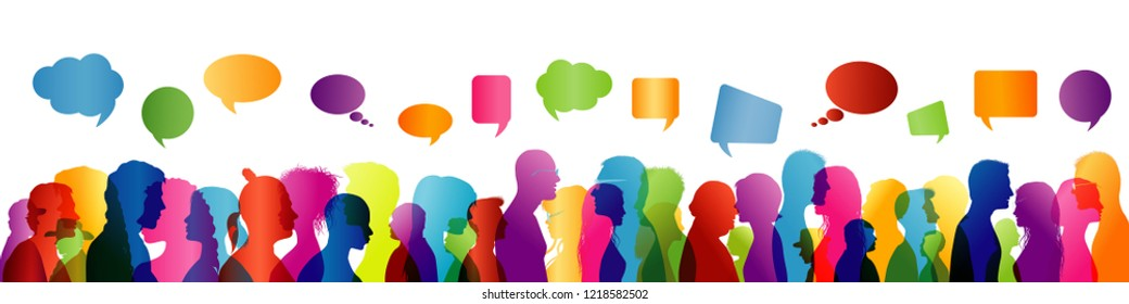 Speech between people. To communicate. Crowd talking. Group of people colored profile silhouette. Speech bubble. Speaking