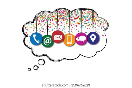 Speech bubble cloud. Hanging contact us symbols with confetti Social Media network icons contact us email at mobile signs fun funny People likes speech bubbles business Celebration Party whatsapp
