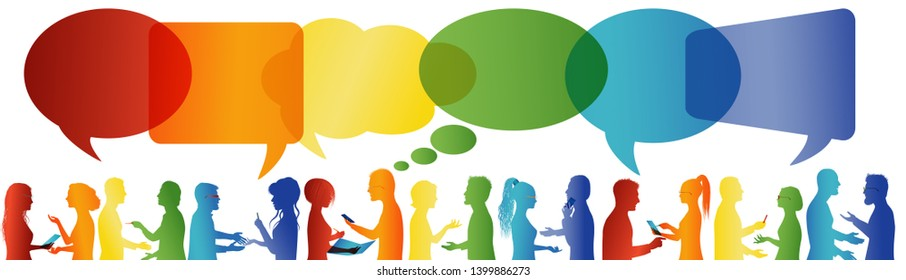 Speech bubble. Communication between large group of people who talk. Crowd talking. Communicate social networking. Dialogue between people. Rainbow colors profile silhouette