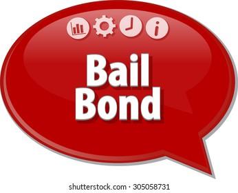 Speech bubble dialog illustration of business term saying Bail Bond