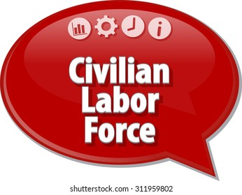 Speech bubble dialog illustration of business term saying Civilian Labor Force