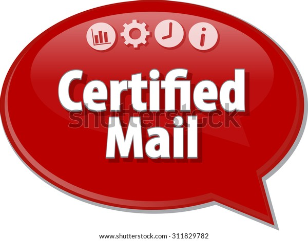 Speech bubble dialog illustration of business term saying Certified Mail