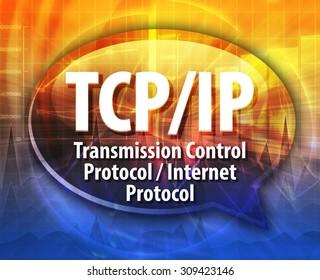 Speech bubble illustration of information technology acronym abbreviation term definition TCP/IP Transmission Control Protocol / Internet Protocol