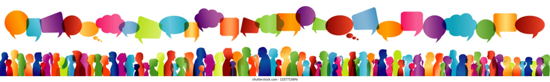 Speech bubble. Isolated large group communication of people talking. Crowd of people. Communicate social networking. Dialogue between people. Colored profile silhouette. Multiple exposure