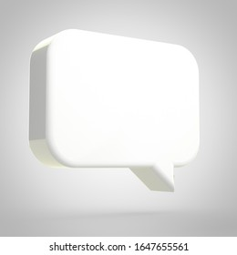 Speech bubble isolated on white background. 3D rendered white chat bubble.