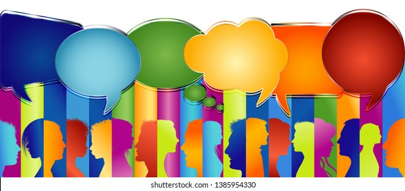 Speech bubble. Large group of people isolated profile colored silhouette. Crowd talking. Communicate in social media. Social media Networking