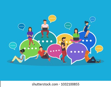 Speech bubbles for comment and reply concept flat  illustration of young people using mobile smartphone and tablets for texting and communicating on networks. Guys and women sitting on bubbles