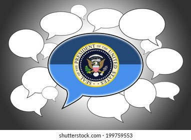 Speech bubbles concept - presidential seal in the front
