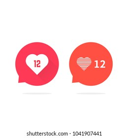 speech bubbles with hearts like counter notification. concept of ui, ok, blog post, dialog, conversation, chat. flat style trend modern logotype graphic design illustration on white background