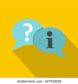 Speech bubbles with question and exclamation mark icon. Flat illustration of  icon for web isolated on yellow background