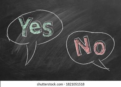 Sprechen Blasen mit ja und kein Text in Kreide auf einer Tafel geschrieben. Unterschiedliche Standpunkte.