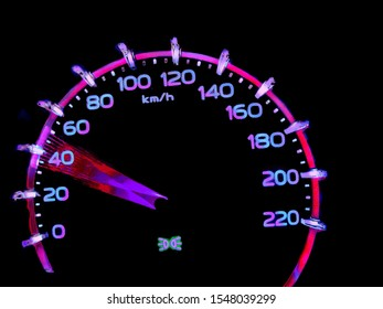 At a speed of 30 to 40 kilometers per hour of High lifters truck on car dashboard.Concept Driving fast is dangerous.​ Colorful​ on​ dangerous.