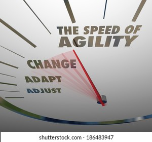 Speed of Agility Words Speedometer Fast Action Change Adapt