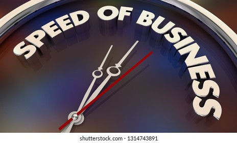 Speed of Business Fast Action Company Movement Clock 3d Illustration
