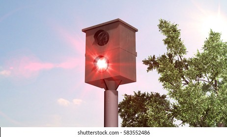 speed camera - speed trap on blue sky background - 3d render