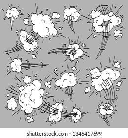 Speed cloud comic. Cartoon fast motion clouds, smoke effects and motions trail. Drawing wind steam, puff explosion and dust fog motion. Cloudy  isolated elements set