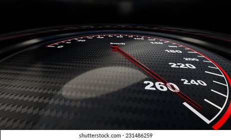 Speed gauge illustration for motion or power concepts. Render image