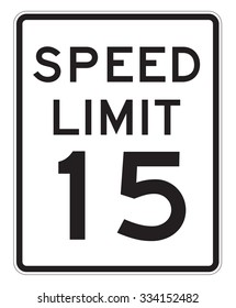 Speed Limit 15 MHP sign isolated on a white background
