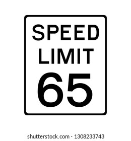 Speed limit 65 road sign in USA