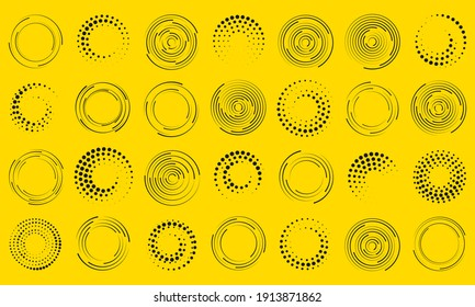 Speed lines in circle form. Set of black thick halftone dotted speed lines. Geometric art. Design element for frame, logo, tattoo, web pages, prints, posters, template, abstract background.