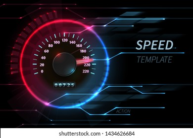 Speed motion line abstract tech background with car racing speedometer. Fast auto race, sport drive illustration