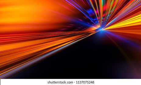 Speed motion on the neon glowing road at dark. Speed motion on the road. Colored light streaks acceleration. Abstract illustration. Blue and Orange Yellow motion streaks. Space gates.