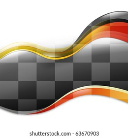 A speed race car background with red and yellow waves curves on a white isolated background. There is a black and white checkered pattern flowing to signify the end or a winner.
