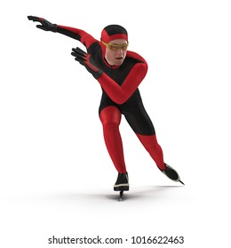 Speed Skater on white. 3D illustration