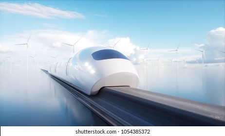 speedly Futuristic monorail train. Sci fi station. Concept of future. People and robots. Water and wind energy. 3d rendering.