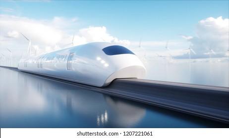 schneller Futuristischer Einbahnzug. Science-Fiction-Station. Konzept der Zukunft. Menschen und Roboter. Wasser und Windenergie. 3D-Darstellung.