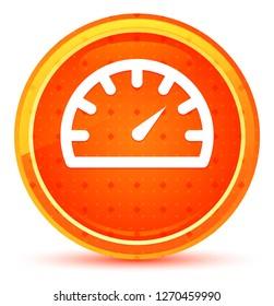 Speedometer gauge icon isolated on natural orange round button