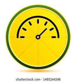 Speedometer gauge icon isolated on lemon lime yellow round button illustration